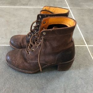Frye Sabina 6G Suede Lace Up Brown Bootie 8.5